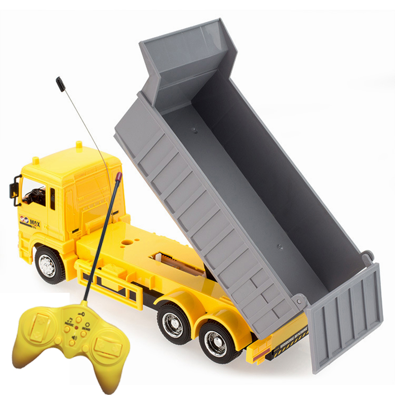 RC cars dump truck Toys for children boys Xmas birthday gifts yellow color RC Engineering truck model Beach toys transporter