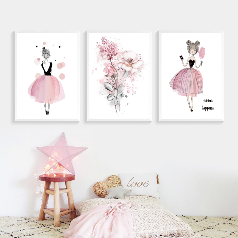 Acquerello Rosa Principessa Dipinti Su Tela Fiori di Arte Della Parete Poster Regali Di Compleanno Nordic Immagini per le Ragazze Camera Dei Bambini Complementi Arredo Casa