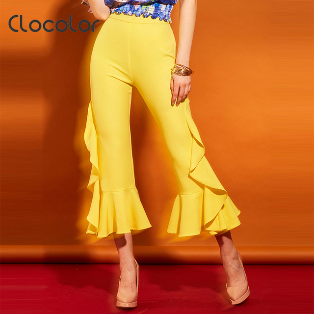 af47ff63ae Clocolor Women Pants High Waisted Plain Flare Pants Yellow Falbala Full  Length Flare Elastic Waist Fashion Summer Women Pants