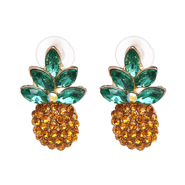 Classic Simple Yellow Rhinestone Pineapple Stud Earrings for Women Fashion  Jewelry Boho Maxi Collection Earrings Accessories 794b069017af