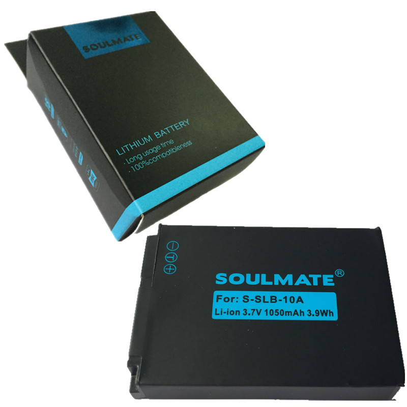 SOULMATE SLB-10A lithium batteries pack SLB 10A Digital Camera Battery SLB10A For SAMSUNG HMX-U10 HMX-U100 SL720 SL310W SL820