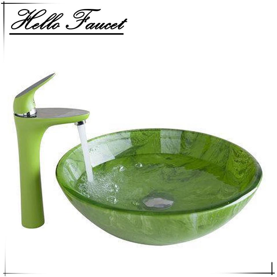 verde de altura del aerosol del grifo lavabo del bao lavabo bao lavabo de cristal pintado