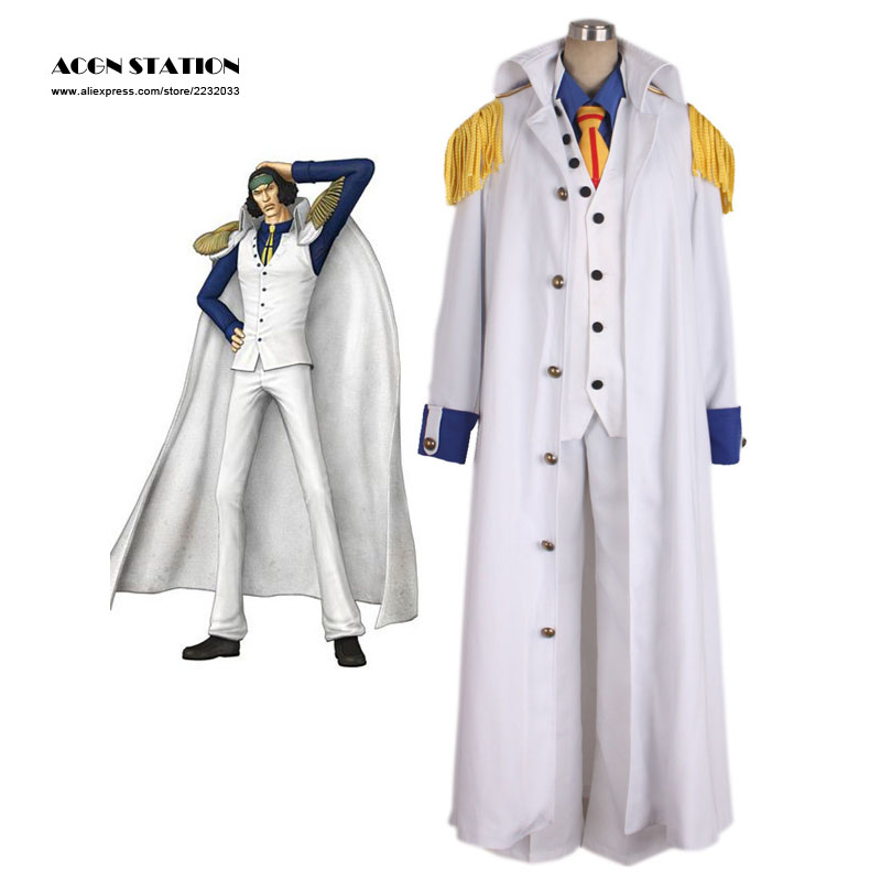 2018 Customize for adults New Adult One Piece Aokiji White Cosplay Costume One Piece Marines Cosplay For Halloween Christmas