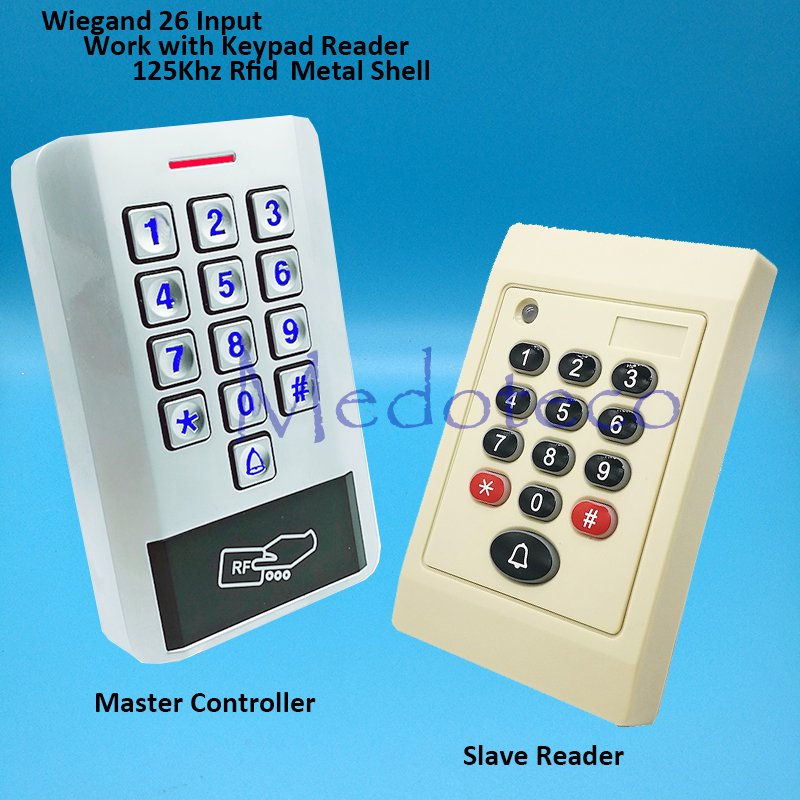 In and Out Door Control System Metal Rfid Card Access Control EM card Press keypad access controller wiegand 26 input mini access control keypad em card wiegand 26 output input with rfid keyfobs 125khz for door lock security system