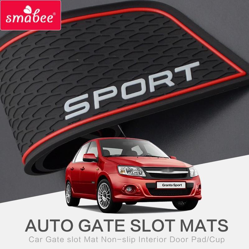 Smabee Gate Slot Pad Interior Door Pad/Cup For LADA Granta GRANTA SPORT Non-slip Mats Red/white Pvc 16pcs