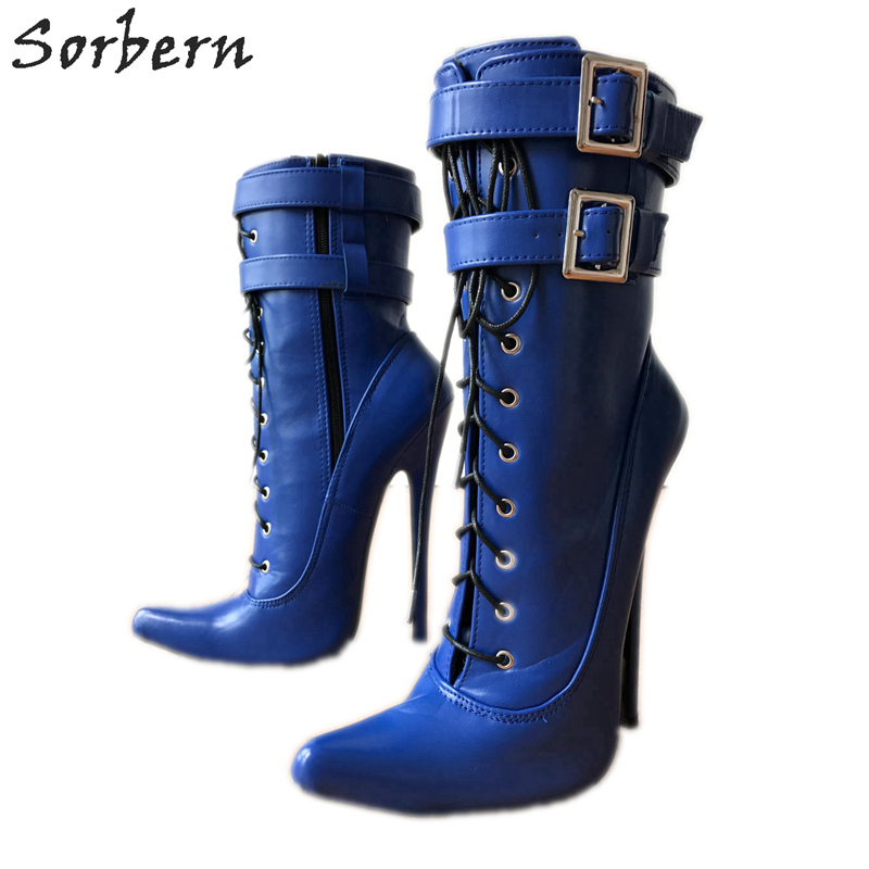 цена на Sorbern 18Cm Stiletto High Heel Ankle Boots For Women Sexy Fetish Boot Unisex Double Wrap Buckle Strap Matte Blue Shoes Unisex