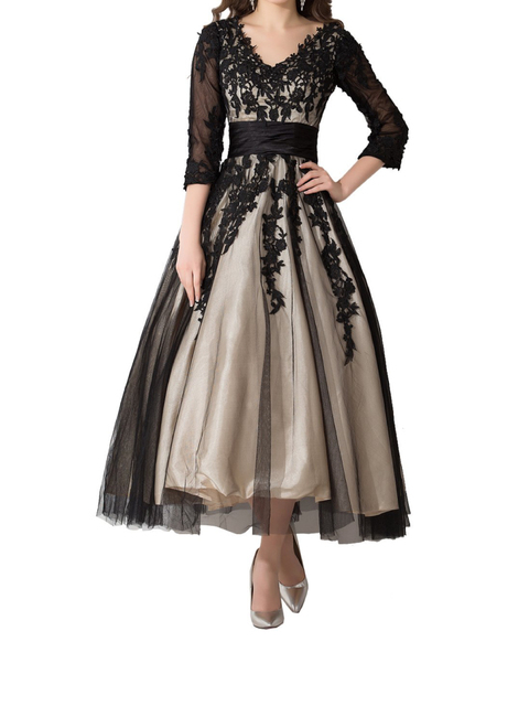 champagne with black lace mother of the bride dresses