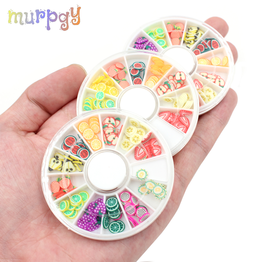 Home Obedient Fruit Fimo Slices Filler For Slime Supplies Slide Charms Kit Slime Polymer Clear Plasticine Mold Putty Clay Accessories Nail Art Large Assortment