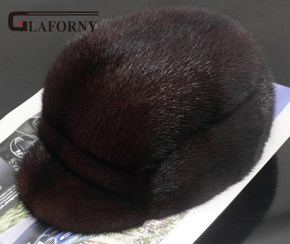 Glaforny 2017 nouveau entier vison fourrure chapeaux hommes 100% réel fourrure casquettes mâle visières chapeaux hiver chaud fourrure bonnets