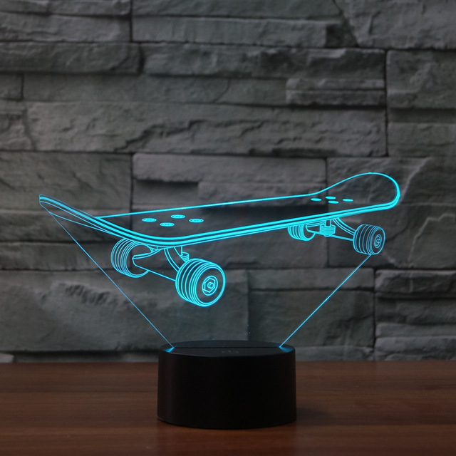Skateboard Led 3D Night Light USB Charge Table Lamps For Home Decoration 7  Color Changing Indoor Night Light As Creative Gift