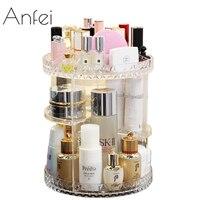 ANFEI Rotating Small Acrylic Cosmetic Organizer Clear Plastic Storage Bath Bathroom Rack Shelf for Makeup Holder C5011