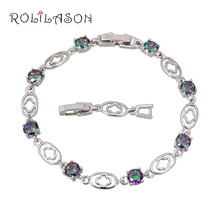 Excellent Cubic Zirconia Design 2016 Silver plated Mystic Topaz Charm Bracelets <font><b>Health</b></font> Nickel & Lead Free Fashion Jewelry TB905