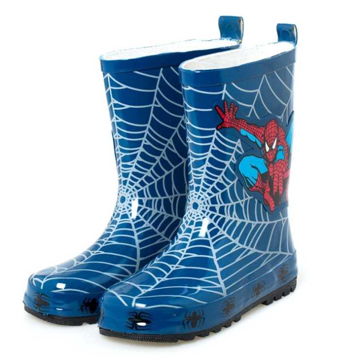 Spot boy blue spider man rain boots rubber rain boots children's non-slip shoes size23--35