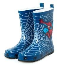 Ponto menino homem aranha azul chuva botas de chuva de borracha botas crianças antiderrapantes sapatos size23 -- 35