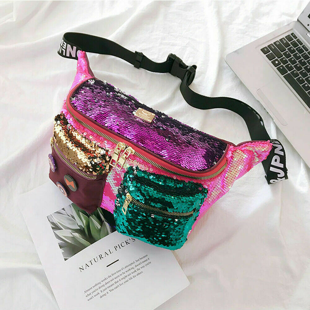 New fashion large capacity waist bag women's fanny pack sequin leather chest bag leisure travel pochete