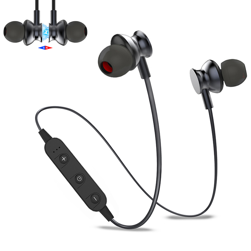 Magnetic materials Super Bass Earbuds for iphone 7 Xiaomi Sony Earphone Headphone Bluetooth Headset 3D Stereo Wireless Earpiece