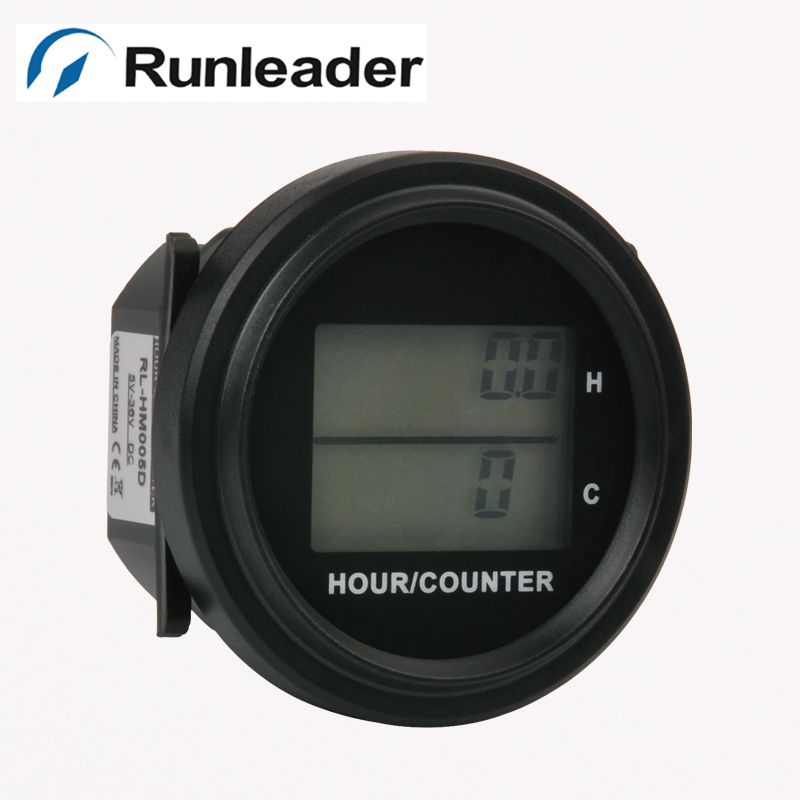 LCD DC 8-48V backlight counter and hour meter for diesel generator trencher trail seeder lawn mower golf cart aeration engine