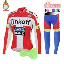 bb9a66a96dc0 Cycling Jersey 2018 Pro Team Tinkoff Kids Cycling Jersey Set Long Sleeve Cycling  Set Boys Winter Cycling Clothing Bike Uniform