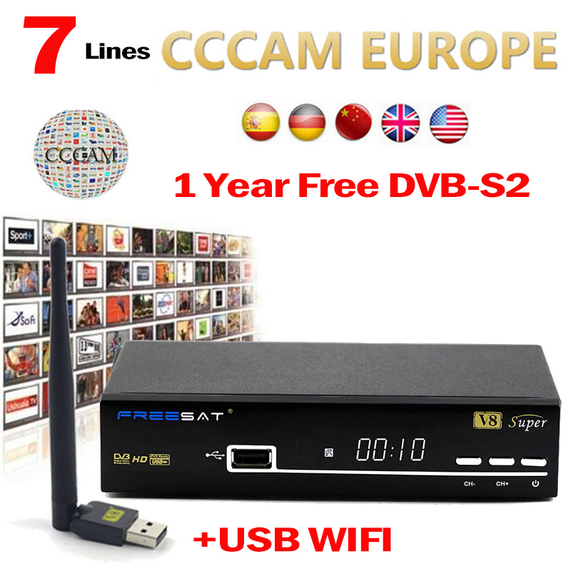 Ccam Europe Server Cline Receptor for 1 year For Italy Spain freesat V8 Super decoder DVB-S2 Satellite TV Receiver +1pc USB Wifi wholesale freesat v7 hd dvb s2 receptor satellite decoder v8 usb wifi hd 1080p support biss key powervu satellite receiver