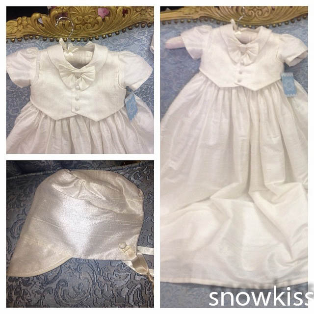 2015 Baby Boys Christening Gown with Bonnet Silk Outfit Suit Baptism ...