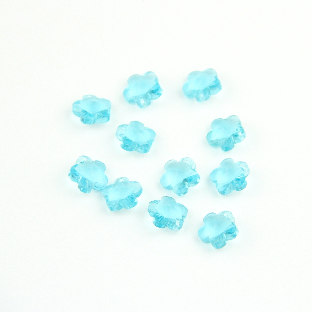 Crystal Plum Blossom Beads 100-2000pcs 14mm Lt Aquamarine Glass Flower Shape In One Hole For Wedding Home Decoration