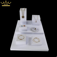 8 pieces /lot white cube PU leather jewelry display counter showcase wooden pendant necklace earrings plate bracket display tray