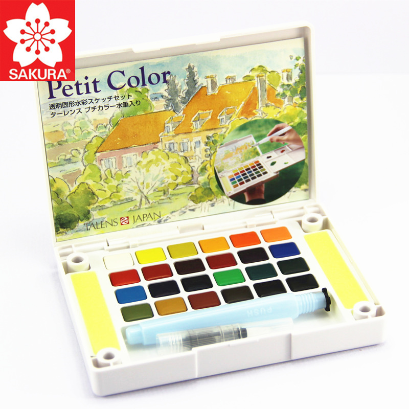 SAKURA 12/18/24/30/36/48/60/72 Colors Petit Watercolor Paint Box Portable Solid Watercolor Painting Art Supplies Pigment Set NCW sakura watercolor 12 15 18 colors 12ml pigment translucent easy to wash additional gold silver color yellow box art set
