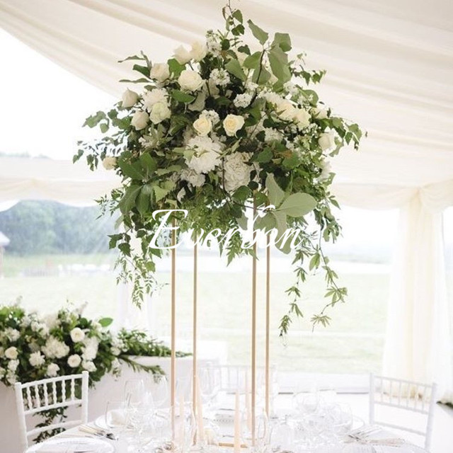 Wedding Flower Vase Metal Stand Gold White Black Column Table Centerpiece
