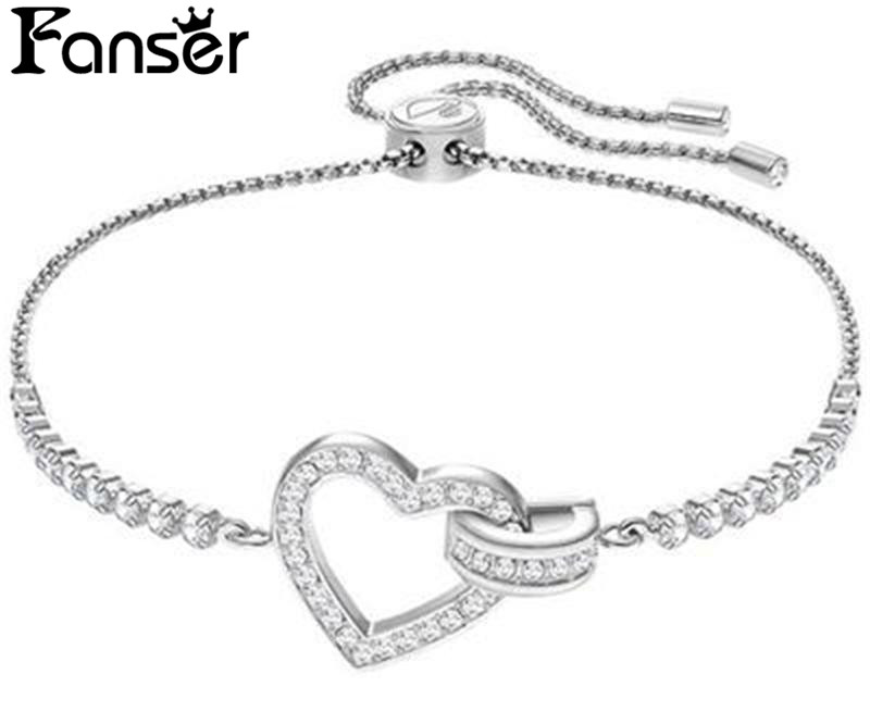 FANSER Love Heart Blacelet Silver& Rose gold Color SWAR Original Copy Ladies Chain Foundation Manufacturer Wholesale Free Mail
