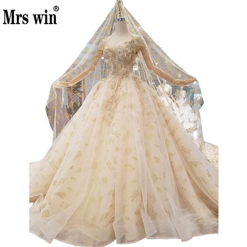 2019 New Mrs Win Robe De Mariee Grande Taille Boat Neck Princess Luxury Vestido De Novias Vintage Wedding Dresses With Veil F