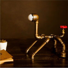Retro Metal desk lamp Light Novely Dog Style Antique Iron Industrial Water Pipe Tube Desk Lamp Light Led Lamp(China)