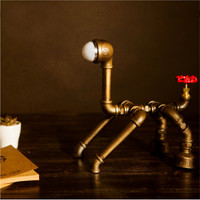 Retro Metal Desk Lamp Light Novely Dog Style Antique Iron Industrial Water Pipe Tube Desk Lamp