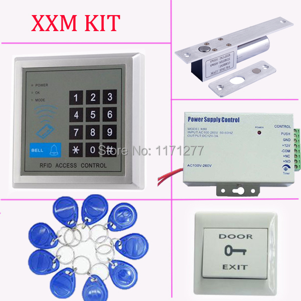 Standalone access control kit ID card access control system,power supply,electric lock,exit button,10pcs FRID key rfid em card reader ip68 waterproof metal standalone door lock access control system with eletric lock power supply exit button