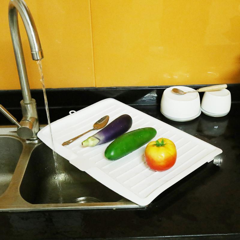 Grand Évier En Plastique Plat Égouttoir Plateau Drin Conseil Légumes Fruits Séchage Rack Laver Titulaire Rack De Stockage De Cuisine Organisateur Plateau