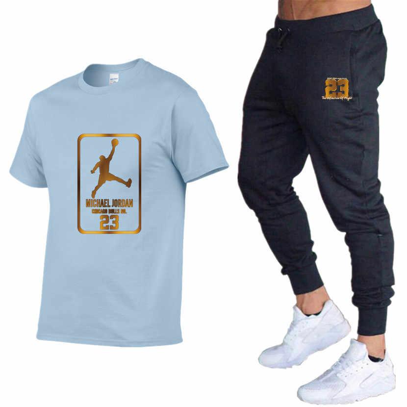 2019 Nova T-shirt Dos Homens do Algodão Roupas de Marca Jordan 23 3D Imprimir Aptidão T-Shirt Dos Ganhos do Hip Hop Tees + Suor Homme calças de Jogging