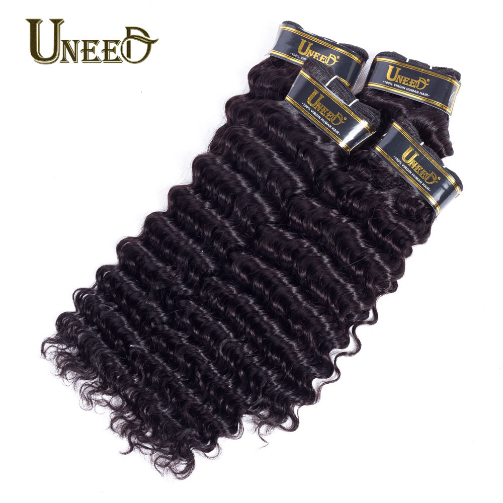 Uneed Hair Deep Wave Malaysian Hair 4Bundles 100% Human Hair Weave Extensions Natural Black Color Remy Hair Weaving No Tangle