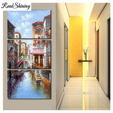 Large Home Decor Diy diamond painting cross stitch 3 Pieces Water city building,5d mosaic embroidery crafts FS3329