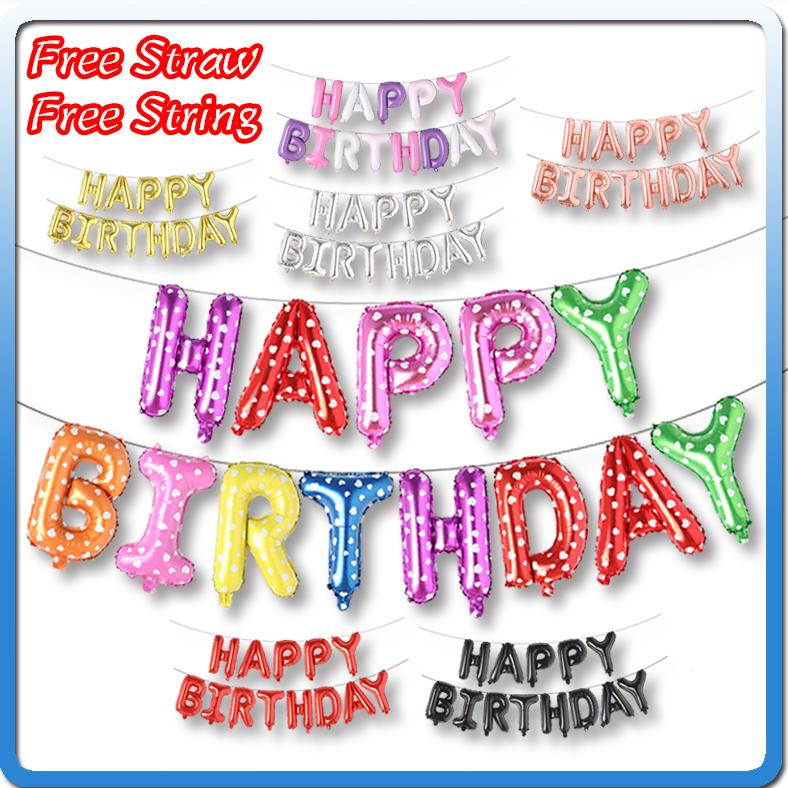 16 Inch Alphabet Helium Set Ballon Happy, Letter Birthday Party Decorations Kids, Adult Birthday Globos Balloons Supplies Baloon
