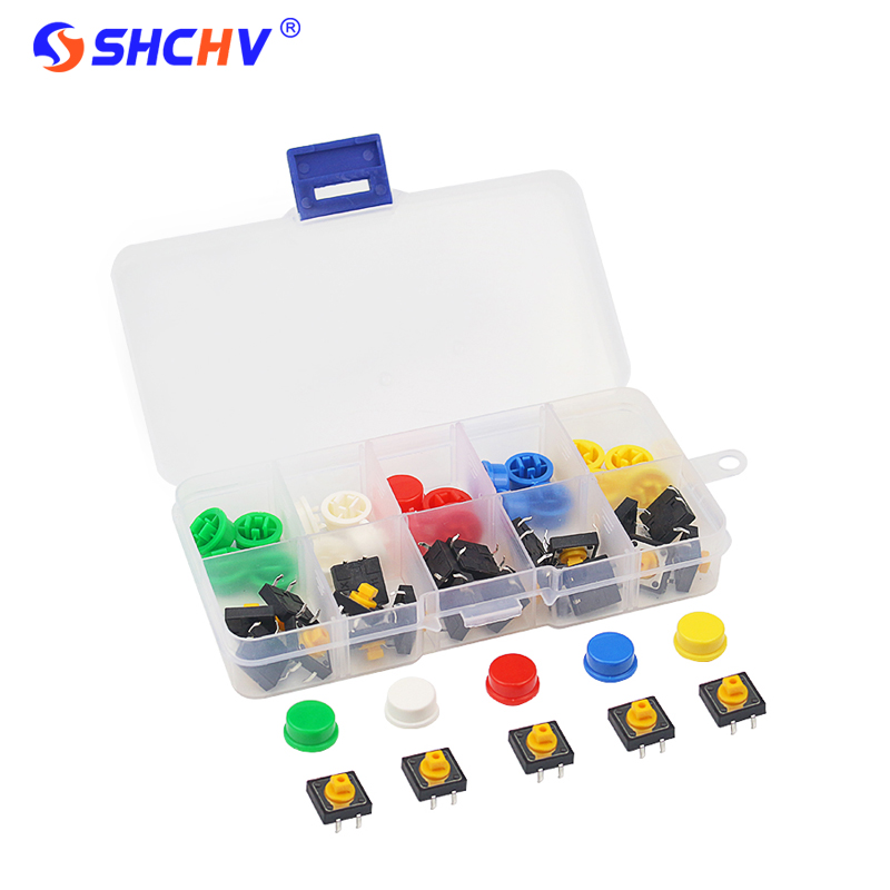 25Pcs Tactile Push Button Switch Key 12*12*7 Mm Micro Switch Button +25Pcs Button Cap + Box For  UNO R3 Raspberry Pi 3