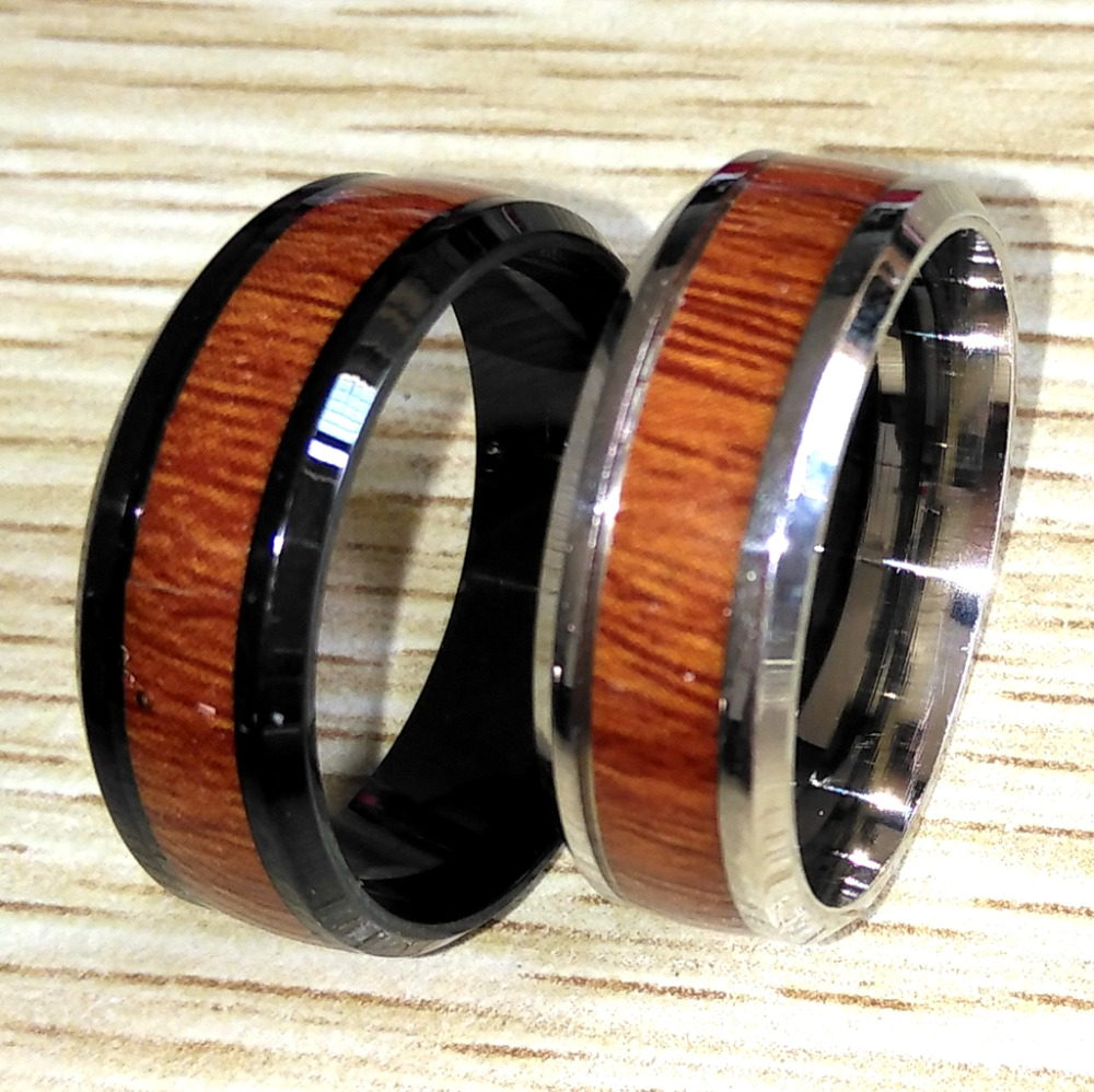 Bulk lots 50PCS Unique Retro Wood Grain 316L Stainless Steel Ring Men s Punk Fashion Stainless