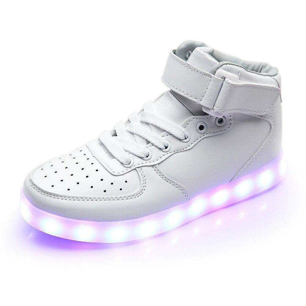 xiweihu мужчин usb зарядка высокие светящиеся светодиодные обувь 7 цветов мигающий повседневная светящийся свет вверх обувь для взрослых