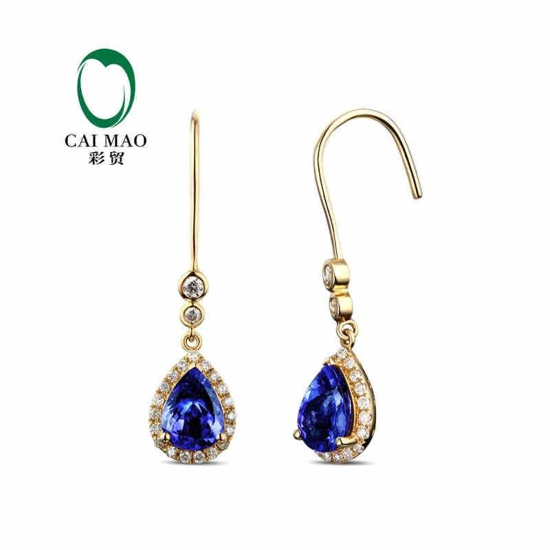 Caimao Diamond Gemstone Earrings Tanzanite Gold Blue Natural Yellow Round AAA 18K Engagement