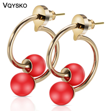 Fashion Copper Tube Beaded Jewellry Earrings With 925 Silver Needle Hot Selling Jewelry Accessories Circle Earring For Women