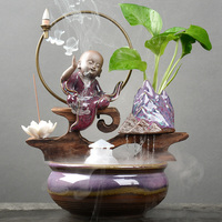 Water Cycle Pots Bonsai Creative Chinese Shaolin Little Monk Purple Sand Glass Hydroponic Potted Flower Pots Bedroom Decoration
