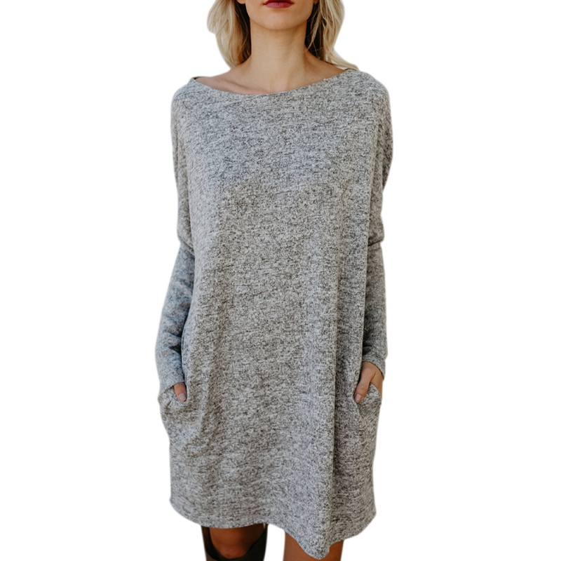 Autumn Winter Fashion Womens Shirts Dress Knitted Long Sleeve Loose Crew Neck Mini Pullover Dresses