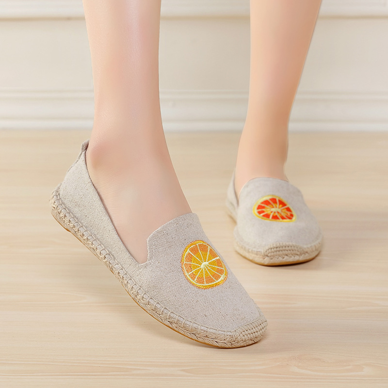 US $30.0 |2017 Instagram Hot Fruit Leinwand Espadrilles Frauenebenen Femmes Luxus Hanf Unten Marke Designer Schuhe Slipony Damen Loafers in 2017