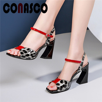 CONASCO Leopard Totem Cow Leather Summer Elegant Pumps Women New Concise Hoof High Heels Prom Party Summer Sandals Shoes Woman