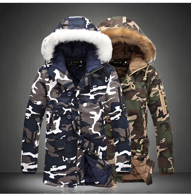 WUAI-Men Winter Coat Faux Fur Hooded Thicken Warm Parka Puffer Jacket Plus Size
