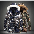 2016 Winter Fur Hooded Jackets For Men Slim Fit Long Parkas For Men Warm Camouflage Cotton Padded Coat Plus Size M-4XL 5XL