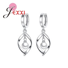 JEXXI Elegant Women Female Jewelry Geometric Arc S90 Silver Color Necklace Earrings Set With Pearl Party Engagement Wholesale(China)